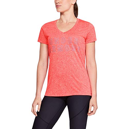 Under Armour Women's Tech Graphic Twist V-Neck, Neon Coral (985)/Metallic Silver, Large