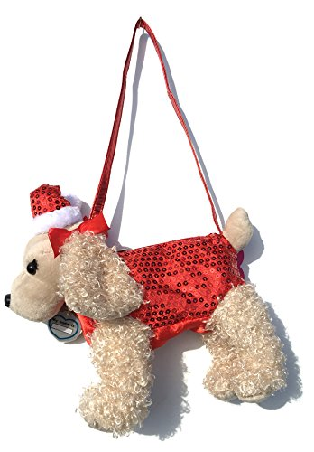 Poochie & Co. Plush Dog Purse - Tan Dog with Red Clothes and Santa Hat