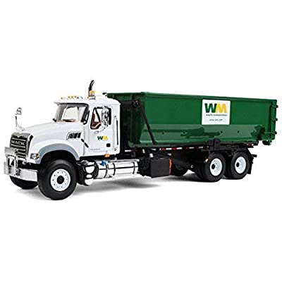 First Gear 1/34 Scale Diecast Collectible Waste Management Mack Granite with Tub-Style Roll-Off Container (#10-4050): Toys & Games