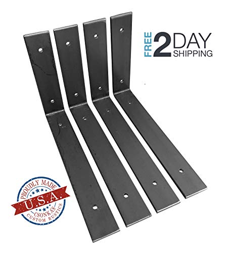 4 Pack - 10L x 6H Angle Shelf Bracket, Iron Shelf Brackets, Metal Shelf Bracket, Industrial Shelf Bracket, Modern Shelf Bracket, Shelving