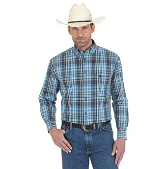 e7e2e145e Image Unavailable. Image not available for. Color: Wrangler Mens George  Strait Blue and Coral Plaid Western Shirt