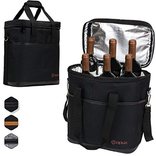 Premium Insulated 6 Bottle Wine Carrier Tote Bag | Wine Travel Bag with Shoulder Strap and Padded Protection | Wine Cooler Bag (Black) ()