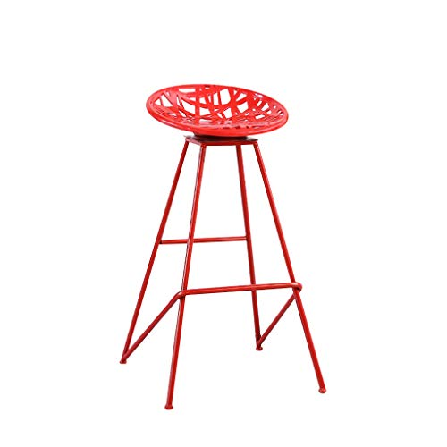 (XIAOPING Bar Stool Counter Chair Kitchen Breakfast Chair Wrought Iron Lounge Chair, Full Bead Rotation (Color : Red))