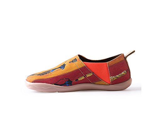 Slip on Lady UIN Canvas Red Shoe Painted Women's Walking BPawXR