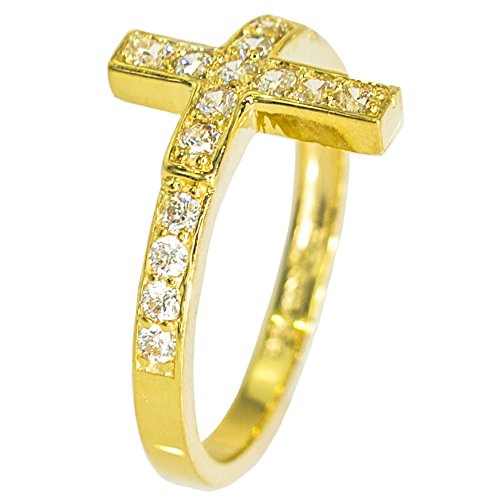 IcedJewels 0.86 cttw Round Cut CZ 14K Yellow Gold Cross Ring, 7