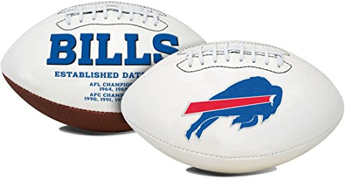 Jarden 1 Pc, Buffalo Bills Football Full Size Embroidered Signature Series, Embroidered Primary Logo & Embossed Team History, Autograph Pen Included, For Autograph Shows & Game Day (Buffalo Bills Embroidered Football)