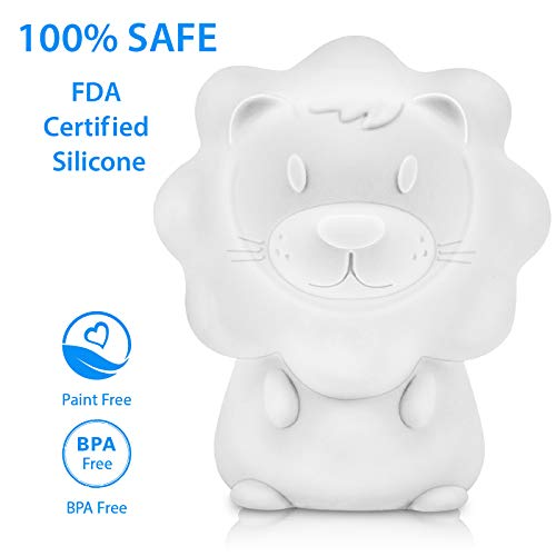 Cute Night Light for Kids – Paint Free Silicone Lion LED Nightlight, Nursery Lamp with Timer, for Toddler, Baby, Girls, Boys, Children Gift, Colorful…