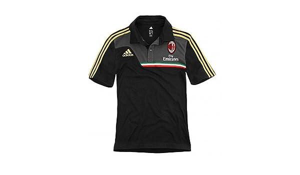 2013-14 AC Milan Adidas Polo Shirt (Black): Amazon.es: Deportes y ...