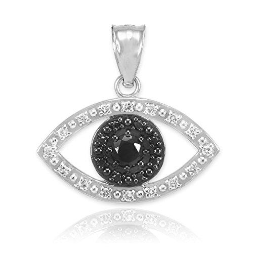 Petits Merveilles D'amour - Pendentif - 10 ct Or Blanc 471/1000 Look-Mal AVEC diamants noirs clairs ET