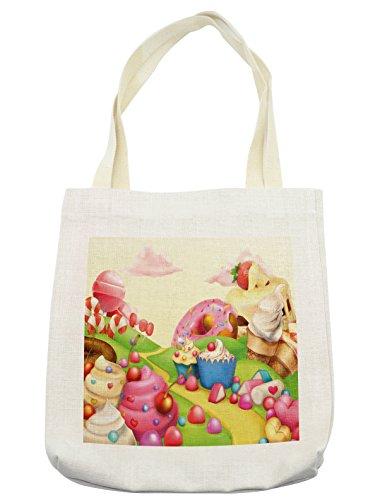 Lunarable Pink Tote Bag, Food Theme Sweet Tasty Landscape of