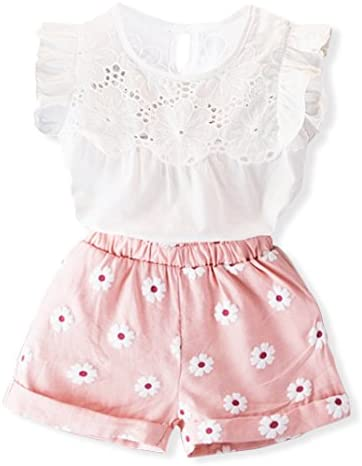 Oklady Little Girls Clothes, Summer Toddler Girl Outfits 2Pcs Ruffle T-Shirt Vest Tops and Shorts Pants