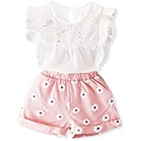 Toddler Girl Outfits 2Pcs Ruffle T-Shirt Vest Tops and Shorts Pants Clothes Sets Pink