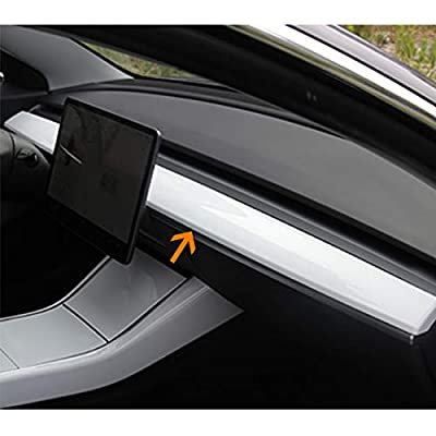 BMZX Tesla Model 3 Car Interior Dashboard Wrap Kit ABS Dash Wrap- Only One Step to Install for Model 3 (Piano White)