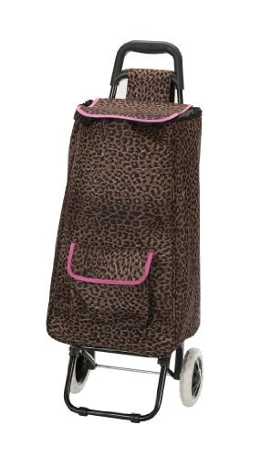 rockland-luggage-rolling-shopping-tote-pink-leopard-one-size