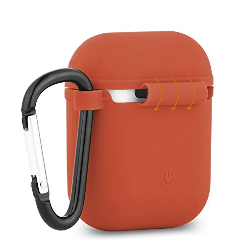 Baaletc Silicone Protective Cover Case Metal Keychain Apple AirPods(Orange)