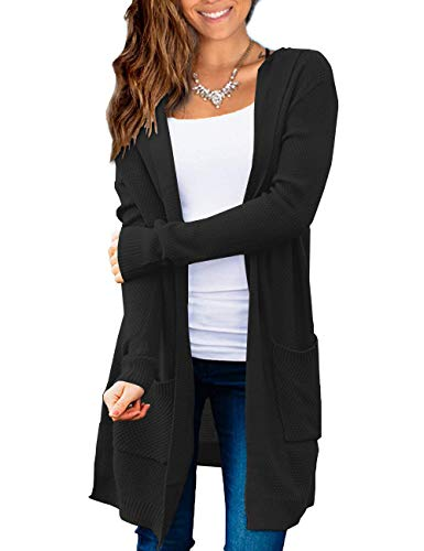 Beecarchil Women's Long Sleeve Hoodie Sweaters Open Front Cardigan with Pockets