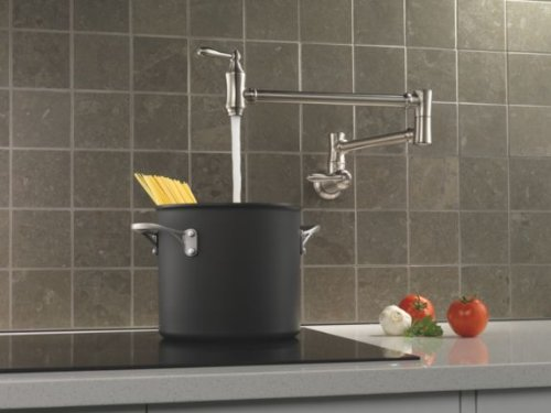 Amazon Com Delta 1177lf Ss Pot Filler Faucet Wall Mount