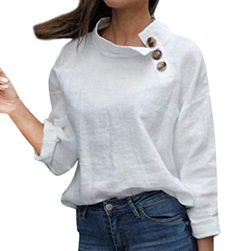 RIUDA Womens V-Neck Long Sleeve Solid Cotton Button Insert Pullover Casual Top Blouse White (Vet Grinder)