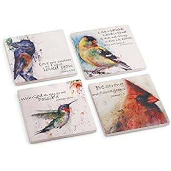 DEMDACO Dean Crouser Birds of Faith Watercolor 4 x 4 Absorbent Ceramic and Cork Coasters Set of 4
