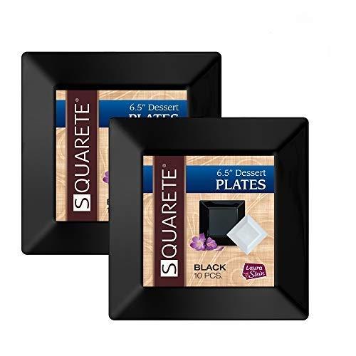 Squarete 6.5'' inch Black Dessert Plates Party Plates Heavy Duty Plastic Elegant Disposable 10 Dessert Plates Per Package Pack of 2