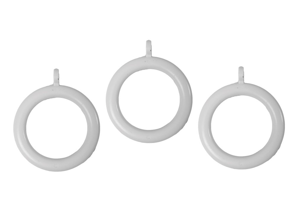 Bulk Hardware BH03243 Plastic Curtain Drapery Pole Rod Rings with Fixed Eye, Inner Dia.37mm (1.7/16 inch) Outer Dia.50mm (2 inch) - White, Pack of 24