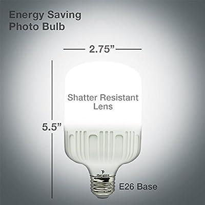 eTopLighting [2-Pack] Super-Bright 6500K 20W LED Light Bulb with Edison E26/E27 Base Utility Bulb for Garage Shops, Construction Sites, Outside Events, APL1460, Daylight White