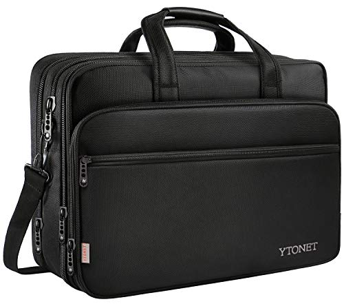 17 inch Laptop Bag, Travel Briefcase with Organizer, Expandable Large Hybrid Shoulder Bag, Water Resisatant Business Messenger Briefcases for Men and Women Fits 17 15.6 Inch Laptop, Computer, Tablet by Ytonet