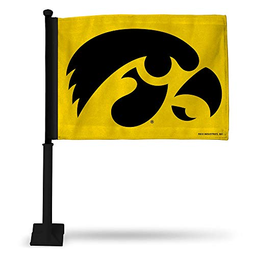 - Rico NCAA Iowa Car Flag with Black Pole, 8 x 1, Yellow, Logo Color