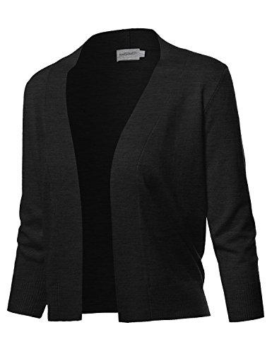 Solid Soft Stretch 3/4 Sleeve Layer Bolero Cardigan Charcoal Grey Size M
