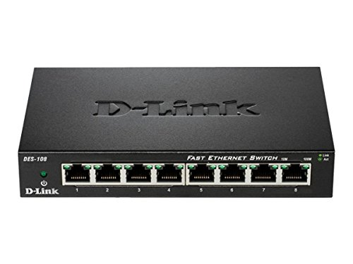 D-Link 8 Port 10/100 Unmanaged Metal Desktop Switch (DES-108)
