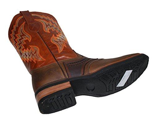 Dona Michi Menns Ekte Ku Skjule Vestlige Skinn Cowboy Boots Dyr Print Tan-cognac