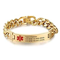 Lam Hub Fong 8.5 Inches Free Engrave Emergency Medical Bracelets for Men Women Alert ID Bracelets for Adults Titanium Steel Medical Alert Bracelets for Women 7.5 Inches