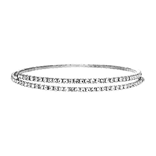 NTLX Women's Silver Rhodium Plated Round Rhinestone 2 Line Memory Wire Bracelet (Silver) (Best Memory Wire For Bracelets)