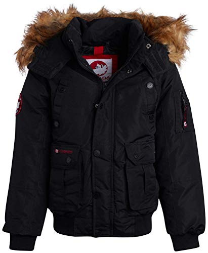 CANADA WEATHER GEAR Boys Heavyweight Bomber Parka Jacket with Faux Fur Hood