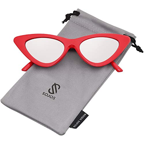 SOJOS Retro Vintage Narrow Cat Eye Sunglasses for women Clout Goggles Plactic Frame Cardi B with Red Frame/Silver Mirrored ()