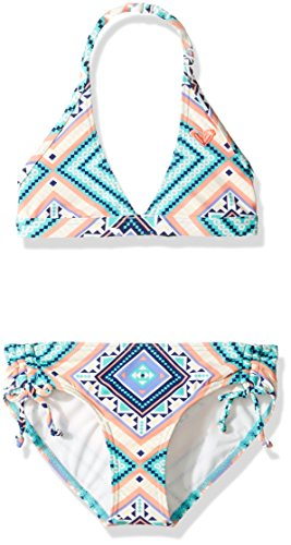2 Girl Piece Hippie (Roxy Big Girls' Hippie College Halter Set Two Piece Swimsuit, Pool Blue Free Spirit, 8)