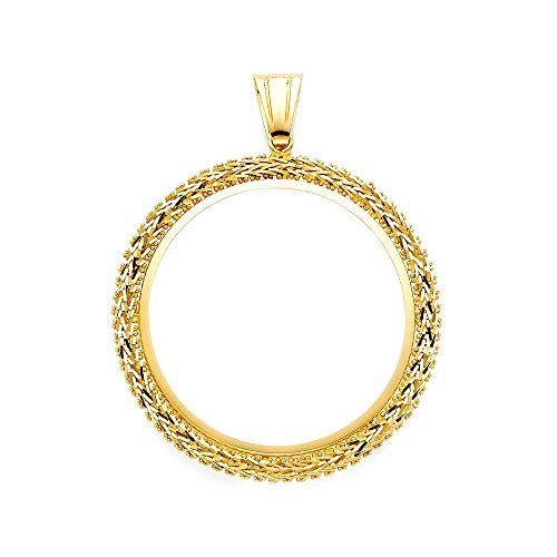 - Mia Diamonds 14k Yellow-Gold Bola Frame Pendant For 50 Pesos Coin (55mm x 45mm)