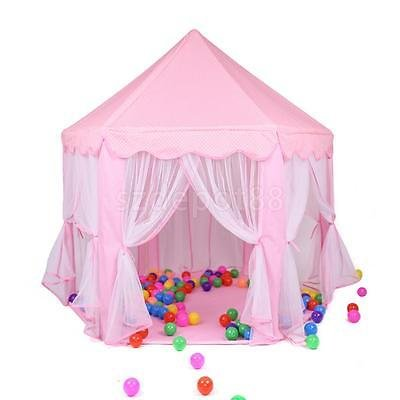 Pink Travel Portable Play Tent Girls Princess Playhouse Castle House Toy