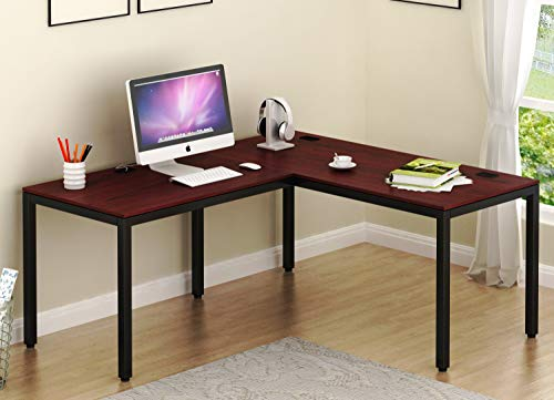 "SHW Home Office 55""x60"" Large L Shaped Corner Desk, Black Cherry"
