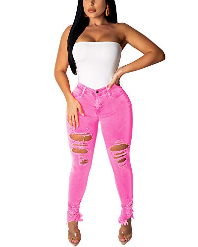 Halfword Women's Ripped Stretch Denim Skinny Jeans High Waist Mid Rise Straight Leg Jean Distressed Plus Size Jeans Pink (Boyfriend Jeans Long)