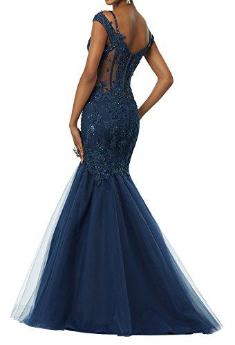 Blau Dunkel Damen Festlich Damen Elegant Abendkleider Strass Dunkel mit Spitze Lang Charmant Abschlussballkleider mit Ballkleider Gruen 6wtqB8x