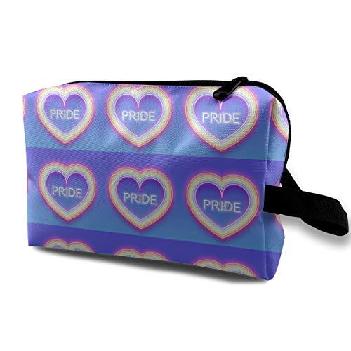 Multi-Functional Neon Glowing Rainbow Heart Waterproof Durable Travel Cosmetic Bag