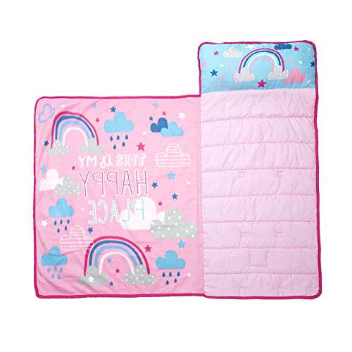 Funhouse Happy Rainbows Kids Nap Mat Set – Includes Pillow and Fleece Blanket - Great for Girls Napping During Daycare, Preschool, or Kindergarten - Fits Toddlers and Young Children