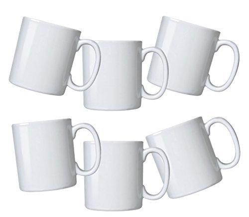 Durable Gourmet White Mugs- set of 6     -