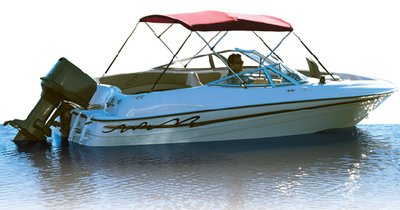 Bimini Acrylic Fabric Top - Attwood 342RD Fabric For 6 ft. Bimini Top With 3 Bows - Acrylic Red - 68-74 in.
