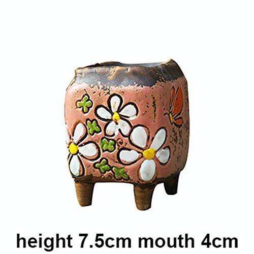 Yun-Guand 1 Piece Mini Succulents Planter Tiny Pot Succulents/Plant/Bonsai Pots,Pink 02 (Table Design Urn Lamp)