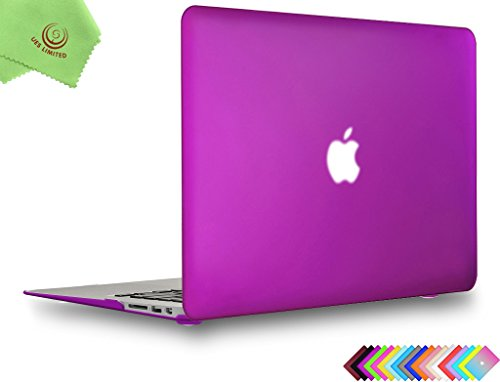 UESWILL Smooth Soft-Touch Matte Hard Shell Case Cover for 2008-2017 MacBook Air 13 inch (Model A1466 / A1369) + Microfibre Cleaning Cloth, Deep Purple