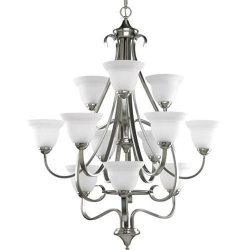 Progress Lighting P4419-09 12-Light Three-Tier Torino Chandelier, Brushed (3 Tier 12 Light Pendant)