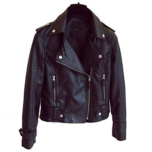 Black Cappotto Jacket Autunno Donna Zipper Motociclista Abbigliamento Inverno Moto Pelle FqOOzwS