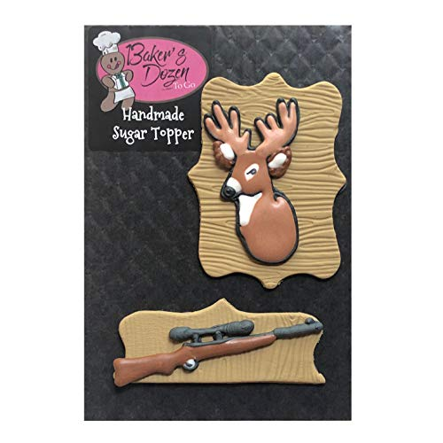 Small Mounted Deer Head and Rifle- 2 Piece Edible Royal Icing Hunting Cake Topper Decoration Handmade by BakersDozenToGo
